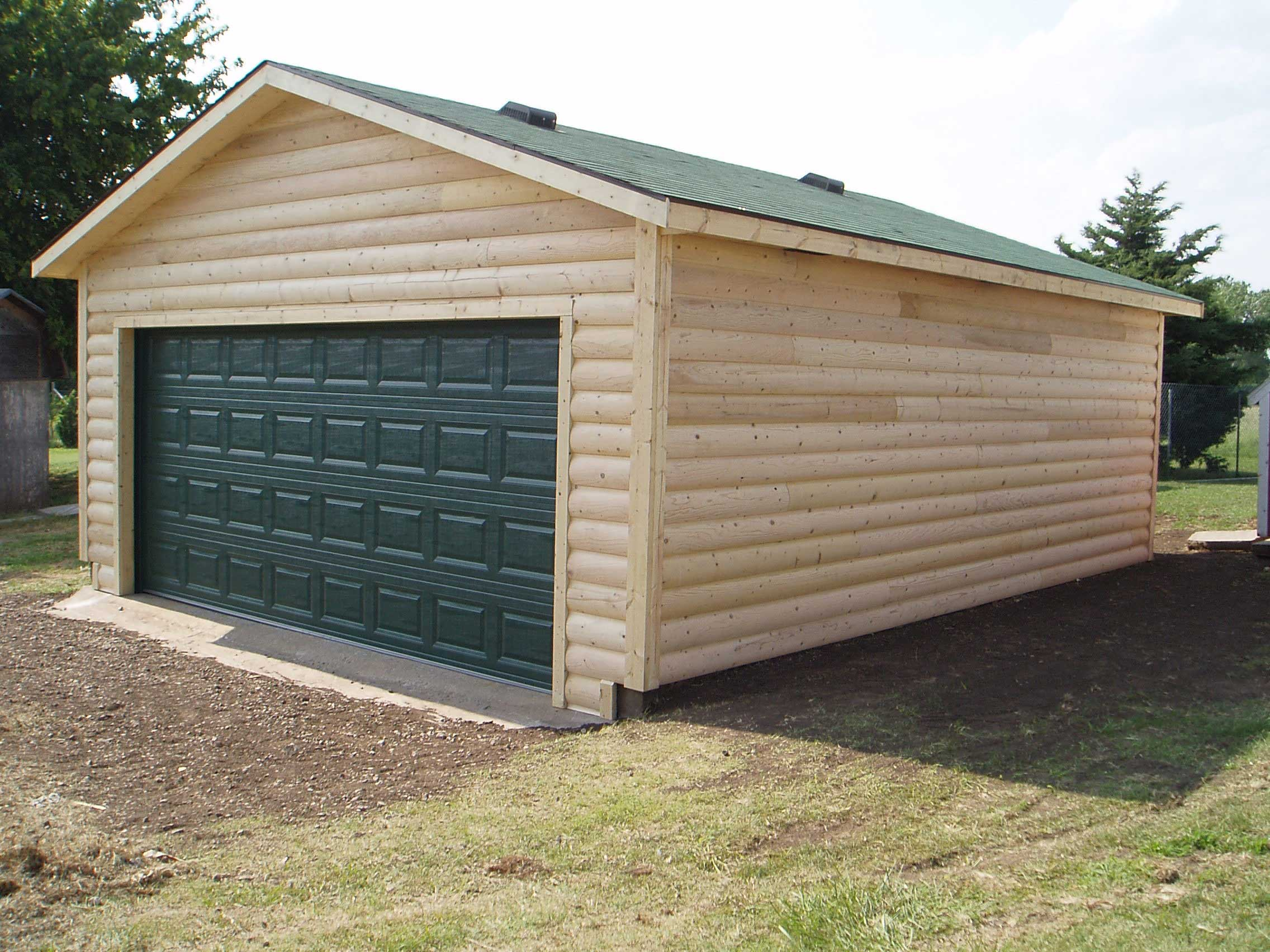 4 Log Sided Garage 20x24x8 10187 Kansas Outdoor Structures